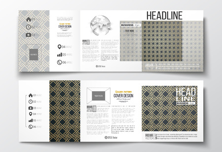 golden globe: Set of tri-fold brochures, square design templates with element of world globe. Islamic gold pattern with overlapping geometric square shapes forming abstract ornament. Vector stylish golden texture. Illustration