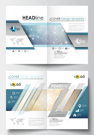booklet design: Business templates for brochure, magazine, flyer, booklet or annual report. Cover design template, easy editable blank, abstract flat layout in A4 size. Golden Christmas decoration, vector background with shiny snowflakes and stars. Illustration