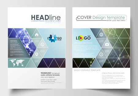 booklet design: Business templates for brochure, magazine, flyer, booklet or annual report. Cover design template, easy editable blank, abstract flat layout in A4 size. DNA molecule structure, science background. Scientific research, medical technology.