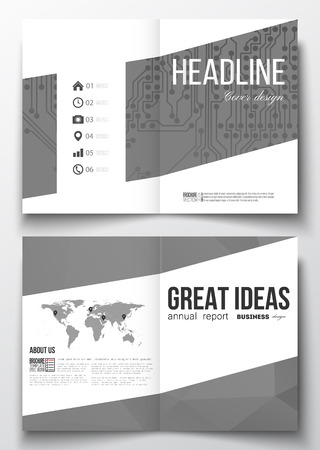 circuitos electricos: Set of business templates for brochure, magazine, flyer, booklet or annual report. Microchip background, electrical circuits, polygonal texture, scientific or digital design template
