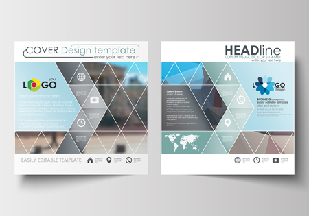 square: Business templates for square design brochure, magazine, flyer, booklet or annual report. Leaflet cover, abstract flat layout, easy editable blank. Abstract business background, blurred image, urban landscape, modern stylish vector. Illustration
