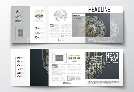 golden globe: Set of tri-fold brochures, square design templates with element of world globe. Round golden technology pattern on dark background, mandala template with connecting lines and dots.