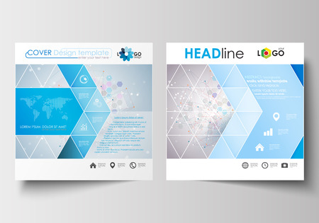 booklet design: Business templates for square design brochure, magazine, flyer, booklet or annual report. Leaflet cover, abstract flat layout, easy editable blank. Molecule structure on blue background. Science healthcare background, medical vector.