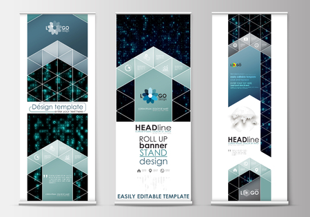 up code: Set of roll up banner stands, flat design templates, abstract geometric style, modern business concept, corporate vertical vector flyers, flag banner layouts. Virtual reality, color code streams glowing on screen, abstract technology background with symbo