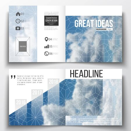 weather report: Set of annual report business templates for brochure, magazine, flyer or booklet. Beautiful blue sky, abstract geometric design with white clouds, leaflet cover, business layout, vector.