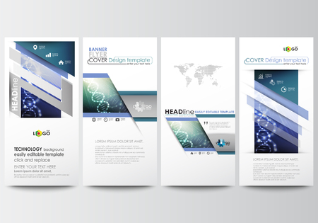micro print: Flyers set, modern banners. Business templates. Cover design template, easy editable, abstract flat layouts. DNA molecule structure, science design. Scientific research, medical technology. Illustration