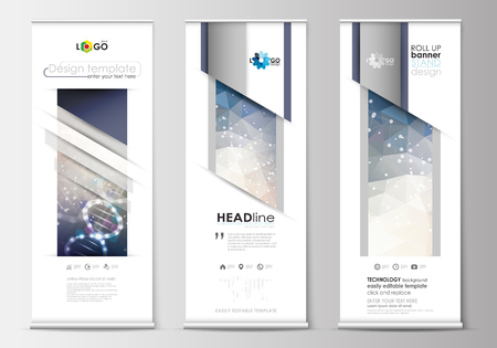 technology banner: Set of roll up banner stands, flat design templates, abstract geometric style, modern business concept, corporate vertical vector flyers, flag banner layouts. DNA molecule structure on blue design. Scientific research, medical technology.