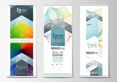 set up: Set of roll up banner stands, geometric flat style templates, business concept, corporate vertical vector flyers, flag layout. Colorful design with abstract shapes and waves, overlap effect.