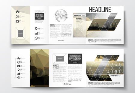 Vector set of tri-fold brochures, square design templates with element of world globe. Colorful polygonal background with blurred image, seaport landscape, modern stylish triangular vector texture.