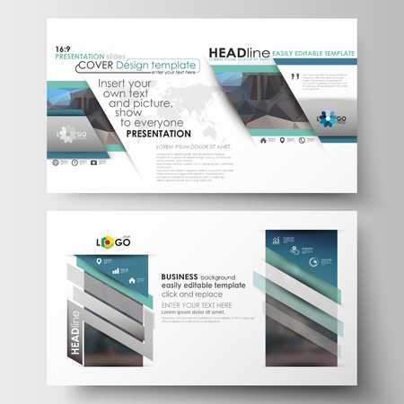 image size: Business templates in HD size for presentation slides. Easy editable abstract layouts in flat design. Abstract business background, blurred image, urban landscape, modern stylish vector.
