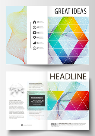 Business templates for bi fold brochure, magazine, flyer. Cover template, easy editable vector, flat layout in A4 size. Colorful design background with abstract shapes and waves, overlap effect
