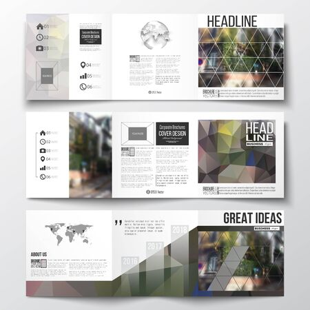 montmartre: Vector set of tri-fold brochures, square design templates with element of world map and globe. Polygonal background, blurred image, urban landscape, street in Montmartre, Paris cityscape Illustration