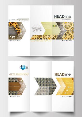 both sides: Tri-fold brochure business templates on both sides. Easy editable abstract layout in flat design. Islamic gold pattern, overlapping geometric shapes forming abstract ornament. Vector golden texture. Illustration