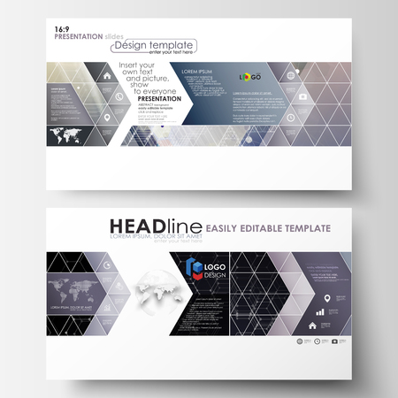 format: Business templates in HD format for presentation slides. Easy editable layouts in flat design. Chemistry pattern, hexagonal molecule structure. Medicine, science, technology concept