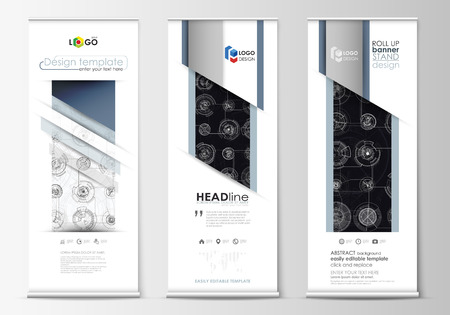 Set of roll up banner stands, flat templates, geometric style, modern business concept, corporate vertical vector flyers, flag layouts. High tech, connecting system. Science and technology concept. Futuristic abstract background.