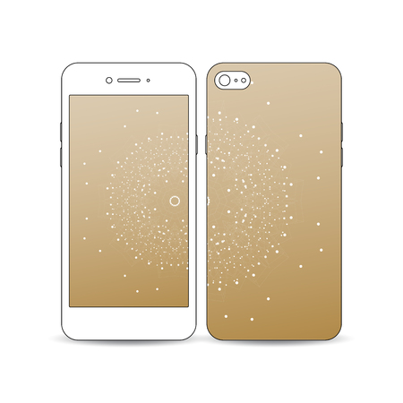 Mobile-smartphone met een voorbeeld van het scherm en cover ontwerp op wit wordt geïsoleerd. Veelhoekige achtergrond met het aansluiten van stippen en lijnen, gouden achtergrond, aansluiting structuur. digitale vector Stockfoto - 67919892
