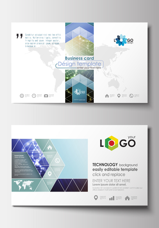 medical research: Business card templates. Cover design template, easy editable blank, abstract flat layout. DNA molecule structure, science. Scientific research, medical technology
