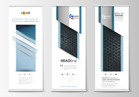 technology banner: Roll up banner stands, abstract geometric style templates, corporate vertical vector flyers, flag banner layouts. Chemistry pattern, hexagonal molecule structure. Medicine, science, technology concept.