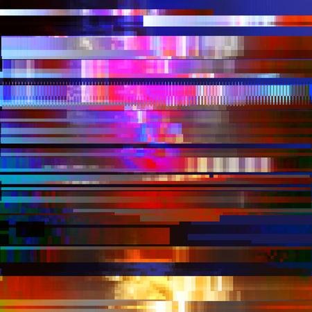 Glitched 抽象的なベクトルの背景はカラフルなピクセルのモザイクから成っています。デジタル減衰、信号エラー、テレビ信号の失敗。ポスター印刷
