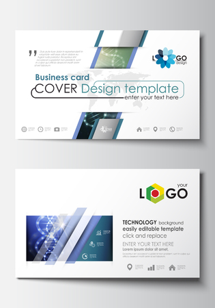 micro print: Business card templates. Cover design template, easy editable blank, abstract flat layout. DNA molecule structure, science background. Scientific research, medical technology.