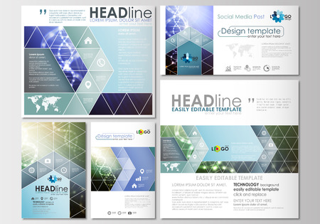medical research: Social media posts set. Business templates. Cover design template, easy editable, abstract flat layouts in popular formats. DNA molecule structure, science background. Scientific research, medical technology.