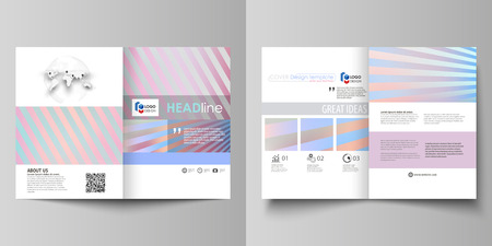 cute bi: Business templates for bi fold brochure, magazine, flyer, booklet or annual report. Cover design template, easy editable vector, abstract flat layout in A4 size. Sweet pink and blue decoration, pretty romantic design, cute candy background.