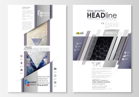 advert: Blog graphic business templates. Page website design template, easy editable abstract vector layout. Chemistry pattern, hexagonal molecule structure. Medicine, science and technology concept