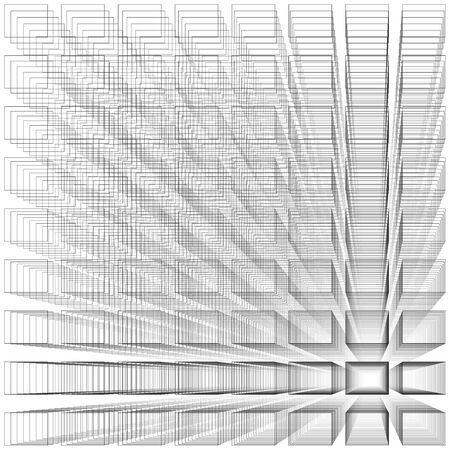 depth: White color abstract infinity background, 3d structure with gray rectangles forming illusion of depth and perspective, vector illustration
