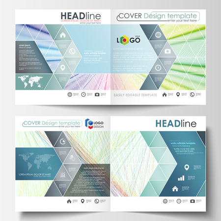 Business templates for square bi fold brochure, magazine, flyer, booklet. Leaflet cover, vector layout. Colorful background with abstract waves, lines. Bright color curves. Motion design.