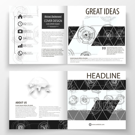 Business templates for square bi fold brochure, magazine, flyer. Leaflet cover, flat layout. High tech design, connecting system. Science and technology concept. Futuristic abstract vector background. Illustration