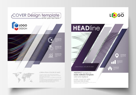 Business templates for brochure, magazine, flyer, annual report. Cover template, easy editable vector, flat layout in A4 size. Abstract waves, lines and curves. Dark color background. Motion design.