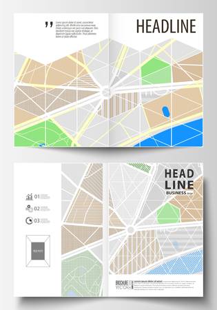 Business templates for bi fold brochure, magazine,  annual report. Easy editable layout in A4 size. City map with streets. Flat design cover template,