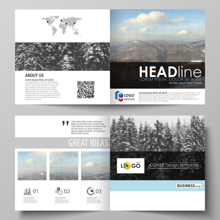 Business templates for square design bi fold brochure,  booklet or annual report. Leaflet cover, vector layout. Abstract landscape of nature. Dark color pattern in vintage style, mosaic texture. Illustration
