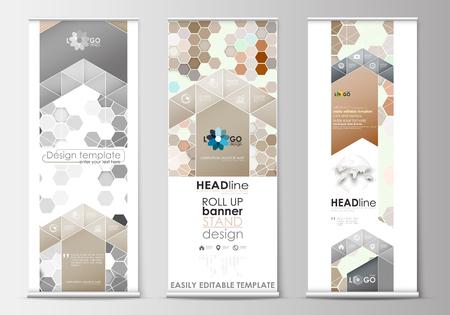 Set van roll-up banner stands, platte ontwerpsjablonen, geometrische stijl, bedrijfsconcept, corporate verticale vector flyers. Abstracte grijze kleurenachtergrond, moderne modieuze hexagonale textuur.