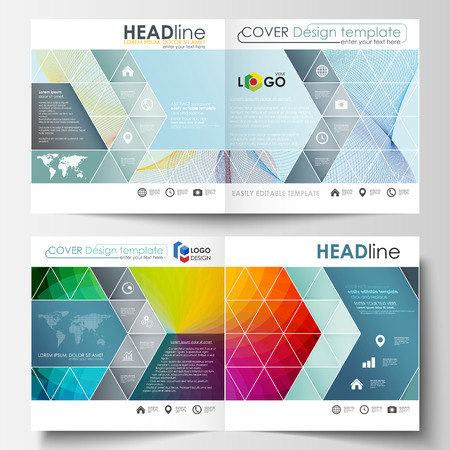 Business templates for square bi fold brochure, magazine, flyer, booklet. Leaflet cover, flat layout, easy editable vector. Colorful design background with abstract shapes and waves, overlap effect.