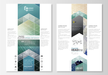 Blog graphic business templates. Page website design template, abstract flat layout, vector illustration. Chemistry pattern, hexagonal molecule structure. Medicine, science, technology concept.