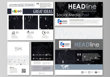 Social Media Posts Set Business Templates Vector Layouts In Popular Formats Abstract Infographic