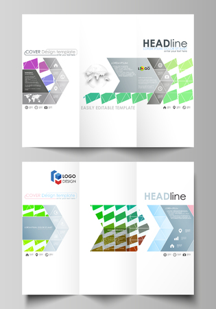 moving in: Tri-fold brochure business templates on both sides. Easy editable vector layout in flat design. Colorful rectangles, moving dynamic shapes forming abstract polygonal style background.