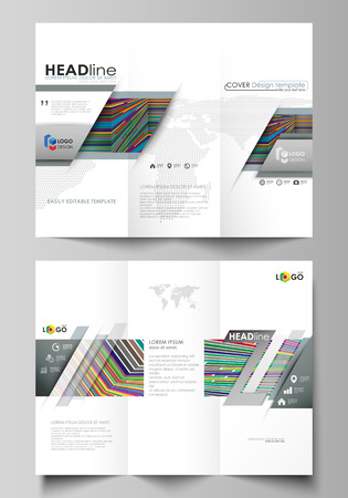 Tri Fold Brochure Business Templates On Both Sides Easy Editable Abstract Vector Layout In