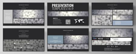 hd: Business templates in HD format for presentation slides. Easy editable abstract vector layouts in flat design. Pattern made from squares, gray background in geometrical style. Simple texture.
