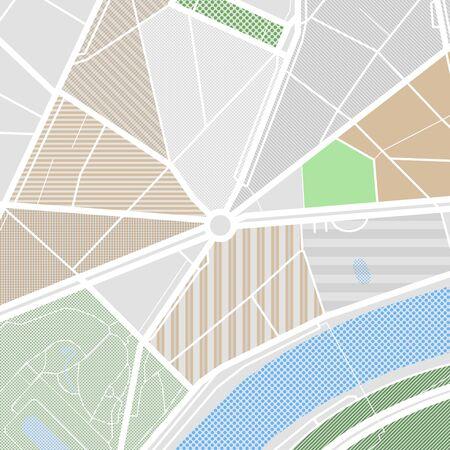 Carte de la ville avec rues, parcs et étang. Illustration de vecteur abstraite design plat.