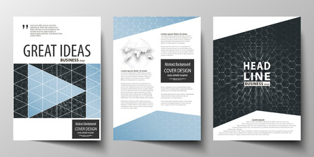 commercial medicine: Templates for brochure, magazine, flyer or report. Cover design template, easy editable vector layout in A4 size. Chemistry pattern, hexagonal molecule structure. Medicine and science concept