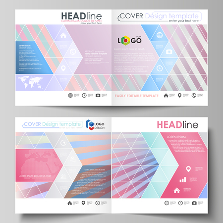 Business templates for square bi fold brochure, magazine, flyer, booklet, report. Leaflet cover, abstract vector layout. Sweet pink and blue decoration, pretty romantic design, cute candy background.