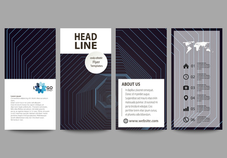 Flyers set, modern banners. Business templates. Cover template, vector layouts. Abstract polygonal background with hexagons, illusion of depth. Black color geometric design, hexagonal geometry. 일러스트