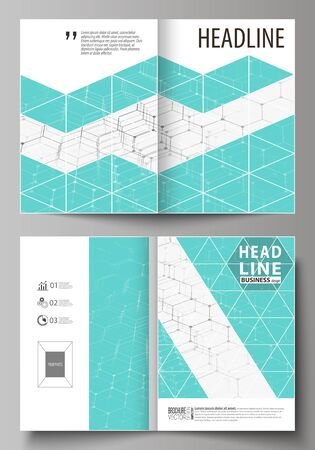 Business templates for bi fold brochure, flyer, booklet, report. Cover design template, vector layout in A4 size. Chemistry pattern, hexagonal molecule structure on blue. Medicine, technology concept. Illustration