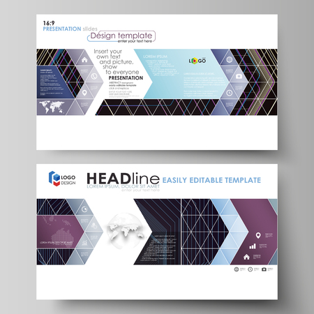Business templates in HD format for presentation slides. Easy editable abstract layouts in flat design. Abstract polygonal background with hexagons, illusion of depth and perspective. Black color geometric design, hexagonal geometry.