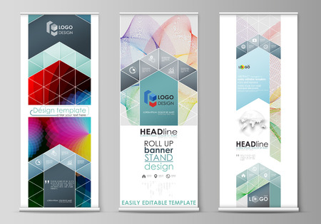 Set of roll up banner stands, flat design templates, abstract geometric style, modern business concept, corporate vertical, flag banner layouts. Colorful design with overlapping geometric shapes and waves forming abstract beautiful background.