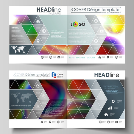 Business templates for square bi fold brochure, magazine, flyer, booklet or annual report. Leaflet cover, flat vector layout. Colorful design background with abstract shapes, bright cell backdrop. Illustration