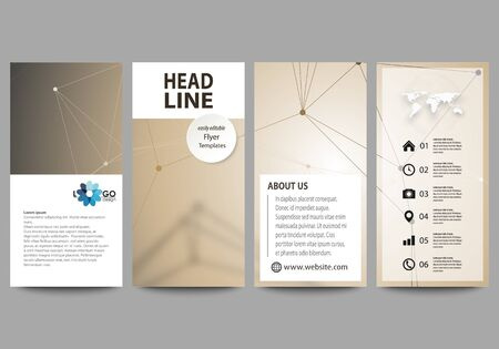 graphic display cards: Flyers set, modern banners. Business templates. Cover design template, abstract vector layouts. Technology, science, medical concept. Golden dots and lines, cybernetic digital style. Lines plexus.