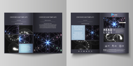 Business templates for bi fold brochure, magazine, flyer, booklet, report. Cover design template, vector abstract layout in A4 size. Sacred geometry, glowing geometrical ornament. Mystical background. Illustration